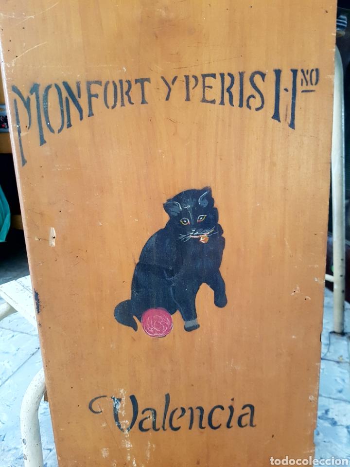 Carteles: MONFORT Y PERIS, VALENCIA, PUBLICIDAD O PARTE DE MUEBLE, DECORADO A MANO. 29x68cm - Foto 4 - 118288220