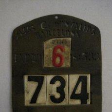 Carteles: CHAPA ASSOCIACIO D´INVALIDS - BARCELONA - REPUBLICA -VER FOTOS -(V-14.265). Lote 118290475