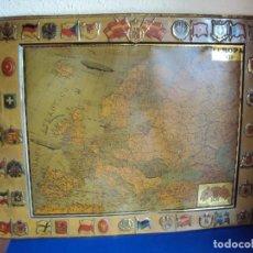 Carteles: (PUB-180467)CHAPA DE MAPA DE EUROPA CON ESCUDO EN RELIEVE DE LA CASA SERVUS Y KAOL.. Lote 119209243