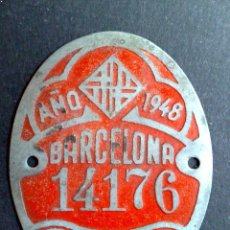 Carteles: CHAPA MATRICULA RODAJE BICICLETA,AÑO 1948 DE BARCELONA (6CM. X 5CM). Lote 120062463