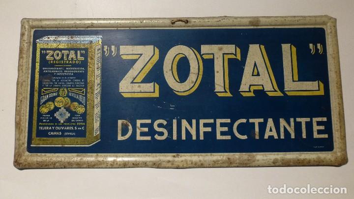 CARTEL DE LATA ZOTAL DESINFECTANTE (Coleccionismo - Carteles y Chapas Esmaltadas y Litografiadas)