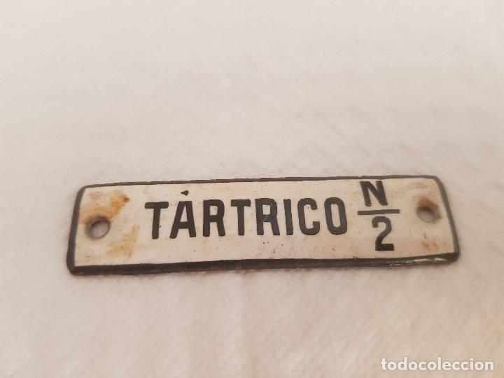 ANTIGUO CARTEL DE FARMACIA METAL Y PORCELANA TARTRICO (Coleccionismo - Carteles y Chapas Esmaltadas y Litografiadas)