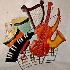 Carteles: CARTEL DE CHAPA INSTRUMENTOS MUSICALES. Lote 121835107