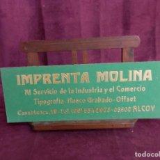 Carteles: ANTIGUO CARTEL DE PUBLICIDAD DE CARTÓN, IMPRENTA MOLINA, ALCOY, 70´S. Lote 148032436