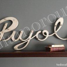 Carteles: PUJOL ANTIGUO Y GRAN CARTEL LETRERO , ROTULO PUBLICIDAD TIENDA EXTERIOR VINTAGE , DE MANRESA. Lote 123074619