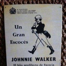 Carteles: PLACA CHAPA PUBLICIDAD WHISKY JOHNNIE WALKER. AÑO 1996. Lote 124190487