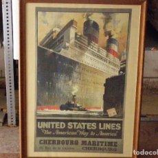 Carteles: CARTEL BARCO BUQUE UNITED STATES LINES. AGENCIA DE VIAJES.. Lote 124194655