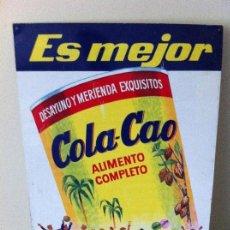 Carteles: CHAPA METÁLICA COLA-CAO. ORIGINAL DE 1962. MEDIDAS: 50X35CMS. G.LLAMAS (BADALONA). Lote 114598799