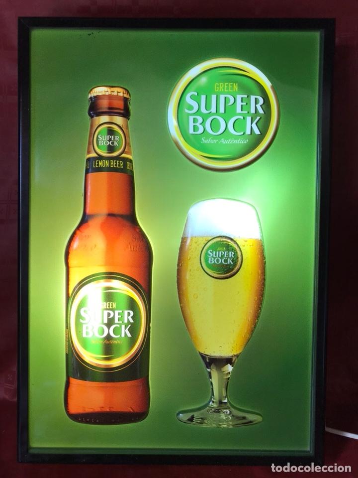 Carteles: Cartel luminoso de cerveza Súper Bock con relieves de 50 X 35 X 7,5 cm. Funcionando - Foto 2 - 124273591