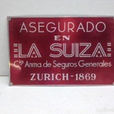 Carteles: CHAPA - PLACA DE SEGUROS LA SUIZA - ZURICH 1868. Lote 125993135