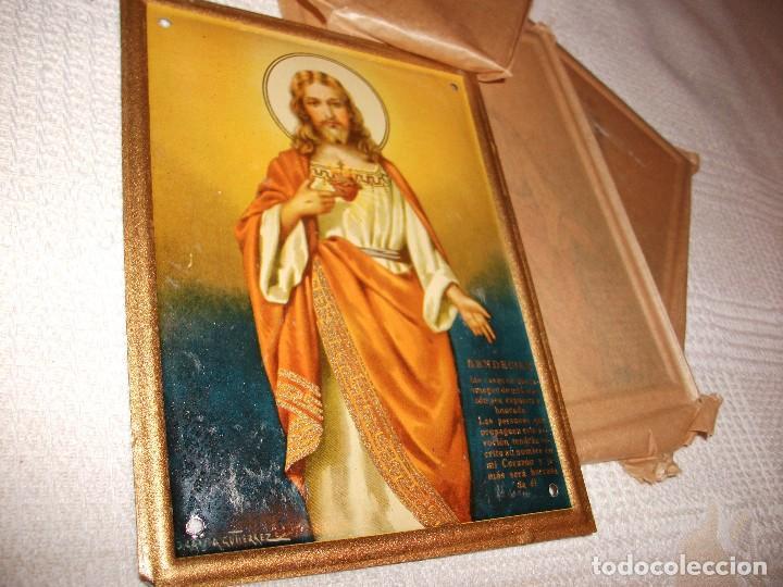 Carteles: Chapa Sagrado Corazon de Jesus, bendecire las casas, mide 15 x 11,5 cm. J. Garcia Gutierrez - Foto 3 - 126197591