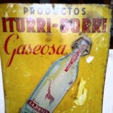 Carteles: PRODUCTOS ITURRI-GORRI. GASEOSA LA JIRAFA. BILBAO. CHAPA PUBLICITARIA TROQUELADA. HOJALATA.. Lote 128362594