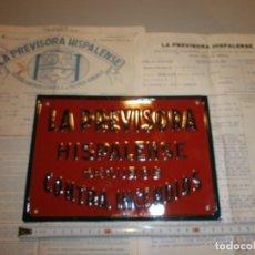 Carteles: CHAPA LA PREVISORA HISPALENSE SEGUROS CONTRA INCENDIOS AÑOS 30 40 EXCELENTE ESTADO NUNCA USADA. Lote 128648339
