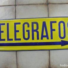 Carteles: ANTIGUO CARTEL, CHAPA LITOGRAFIADA Y ESMALTADA. TELEGRAFOS. Lote 128673819
