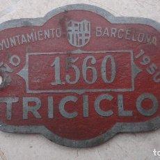 Carteles: ANTIGUA CHAPA PERMISO.TRICICLO.AYUNTAMIENTO DE BARCELONA 1950. Lote 128807395