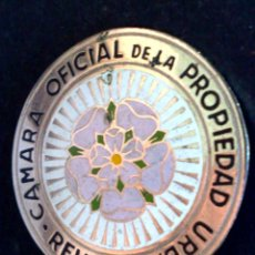 Carteles: CHAPA DE LA CAMARA OFICIAL DE LA PROPIEDAD URBANA DE REUS. Lote 128863955