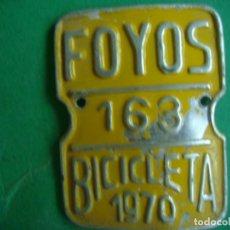 Carteles: CHAPA BICICLETA PROVINCIAL ARBITRIO FOYOS 1970. Lote 129962379