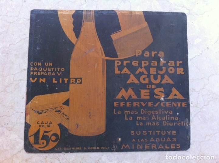 CARTEL SALES MINERALES AGUA DE MESA EFERVESCENTE. MODERNISTA. AÑOS 20-30 (Coleccionismo - Carteles y Chapas Esmaltadas y Litografiadas)