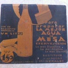 Carteles: CARTEL SALES MINERALES AGUA DE MESA EFERVESCENTE. CARTÓN MUY ANTIGUO.. Lote 130777416