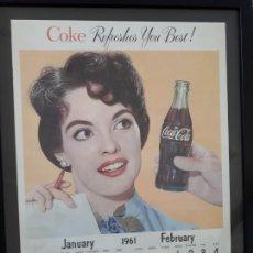 Carteles: CALENDARIO COCA-COLA DE PARED AMERICANO, JANUARY-FEBRUARY DE 1961. ORIGINAL Y ENMARCADO.. Lote 116158799