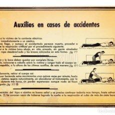 Carteles: CARTEL CHAPA PLACA PUBLICIDAD DE PRIMEROS AUXILIOS EN CASOS DE ACCIDENTES AÑOS 50. Lote 130979556