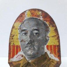 Carteles: ANTIGUA CHAPA EN HOJALATA LITOGRAFIADA DE FRANCISCO FRANCO - CAUDILLO . AÑOS 40. Lote 132020414