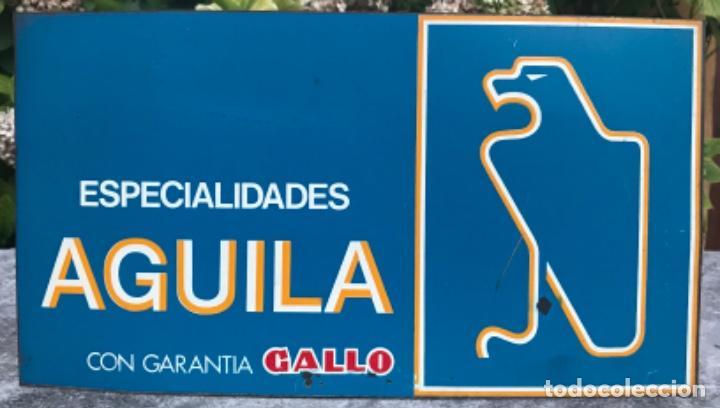 Carteles: Chapa metálica litografiada publicidad de Pastas Alimenticias Gallo - Doble cara - Años 70 - Foto 2 - 132429718