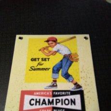 Carteles: CHAMPION CHAPA DE HIERRO. Lote 134133457