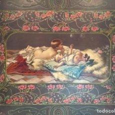 Carteles: PRECIOSO PORTAFOLIO ART NOUVEAU EN PIEL Y ESCENA PINTADA AL OLEO. Lote 134329858