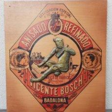 Carteles: ANTIGUO CARTEL (LETRERO) PUBLICITARIO DE MADERA CON RELIEVE ANISADO REFINADO VICENTE BOSCH BADALONA. Lote 135424354