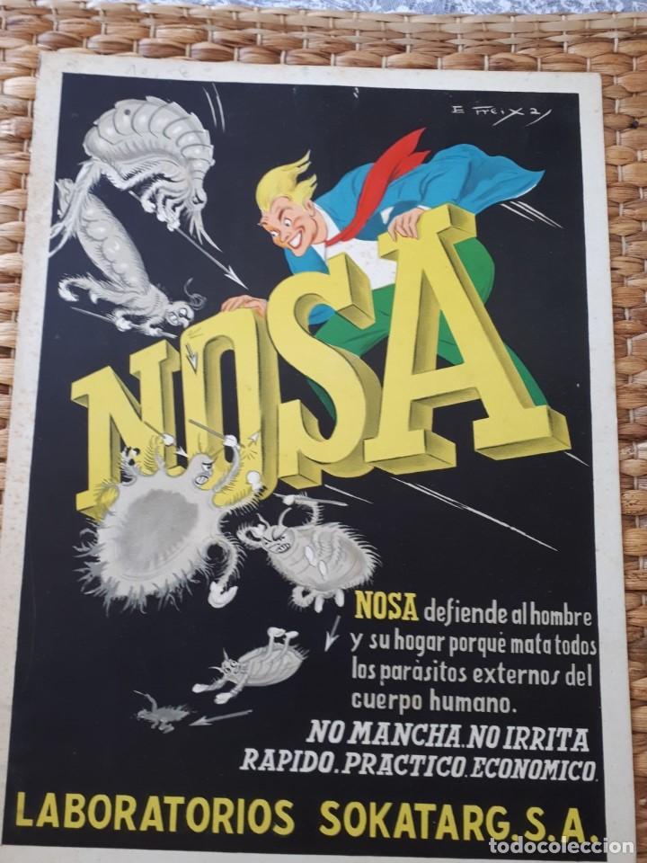 CARTEL PUBLIIDAD NOSA INSECTICIDA. LABORAT. SOKATARG, S.A. CARTÓN. E. FREIXA. ORIGINAL AÑOS 20-30S (Coleccionismo - Carteles y Chapas Esmaltadas y Litografiadas)