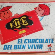 Carteles: PRECIOSA CHAPA LITOGRAFIADA DE PUBLICIDAD DE CHOCOLATE KIKE, GIJON, ASTURIAS, CON LAS LETRAS Y DIUJO. Lote 135683203