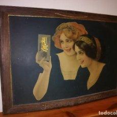 Carteles: CHOCOLAT SUCHARD - MILKA - AÑOS 20 - CARTEL DE CHAPA DE GRAN TAMAÑO - 69 X 48 CMS.. Lote 135849490