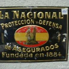 Carteles: CHAPA SEGUROS 24 X 17. Lote 137228110