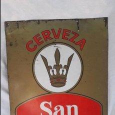 Carteles: ANTIGUA CHAPA CERVEZA SAN MARTÍN DE ORENSE. Lote 137463730