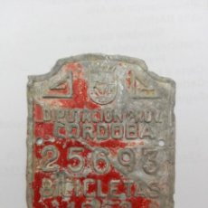 Carteles: ANTIGUA CHAPA DE BICICLETA DE LA DIPUTACION PROVINCIAL DE CÓRDOBA.. Lote 277688583