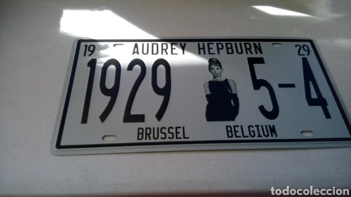 Carteles: Placa, chapa metalica, audrey hepburn, brussel belgium, 30 x 15 cm - Foto 2 - 138940256