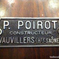 Carteles: PLACA METAL P.POIROT. CONSTRUCTEUR. VAUVILLERS. FRANCIA. CONSTRUCTOR.. Lote 139650110