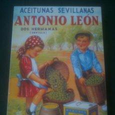 Carteles: REPRODUCCION ACEITUNAS SEVILLANAS.ANTONIO LEON.. Lote 139674518
