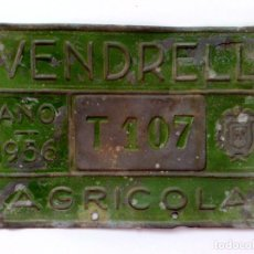 Carteles: CHAPA MATRICULA AGRICOLA,NºT-107 DEL AÑO 1956 DE VENDRELL (15,5CM. X 10CM.) DESCRIPCIÓN. Lote 139810314