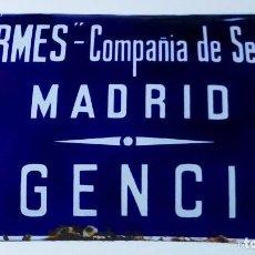 Carteles: CHAPA O PLACA ESMALTADA EN PORCELANA DE COMPAÑIA DE SEGUROS HERMES, AGENCIA DE MADRID, MIDE 40 X 25 . Lote 140577566