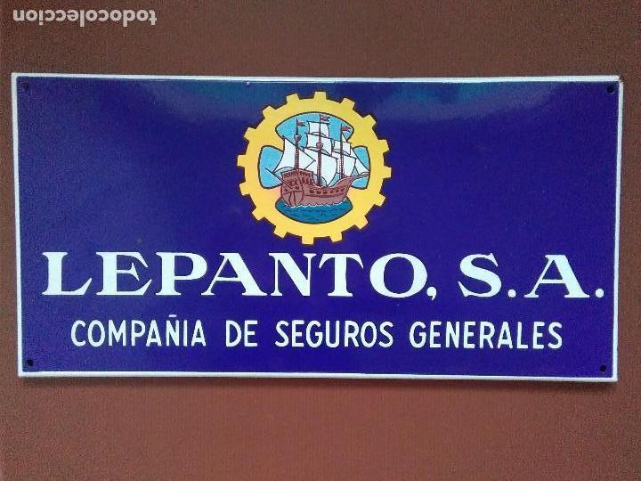 LEPANTO S.A SEGUROS CHAPA ESMALTADA (Coleccionismo - Carteles y Chapas Esmaltadas y Litografiadas)