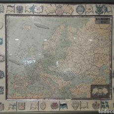 Carteles: EUROPA 1931, ANTIGUO MAPA DE CHAPA PUBLICIDAD SERVUS Y KAOL, ENMARCADO. Lote 144332940