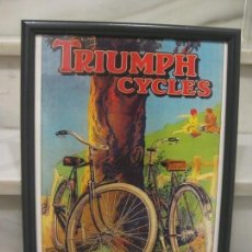Carteles: CUADRO CON CRISTAL TRIUMPH CYCLES. 43X33CM. Lote 145004182