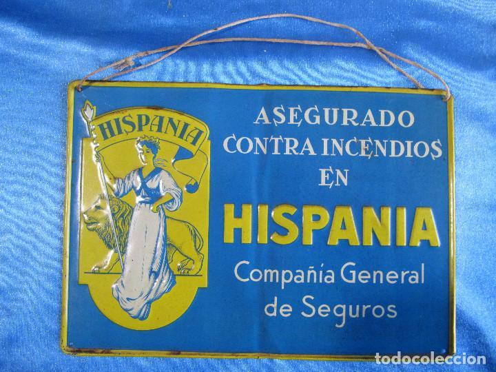 CHAPA METÁLICA ASEGURADA CONTRA INCENDIOS EN HISPANIA. COMPAÑÍA GENERAL DE SEGUROS, S/F. (Coleccionismo - Carteles y Chapas Esmaltadas y Litografiadas)