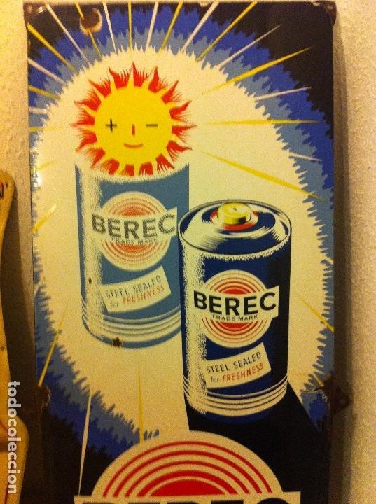 Carteles: Impresionante Chapa esmaltada Pilas Berec. Printed in Belgium. Original Años 1920-30s. 123 cms alto. - Foto 2 - 113391239