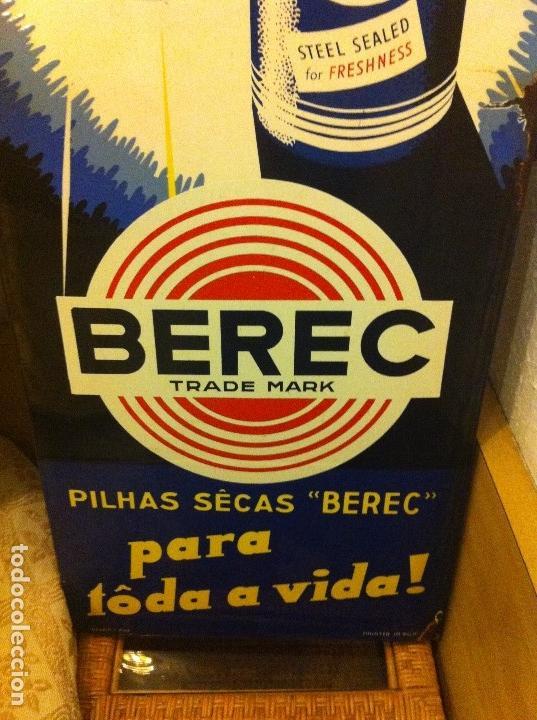 Carteles: Impresionante Chapa esmaltada Pilas Berec. Printed in Belgium. Original Años 1920-30s. 123 cms alto. - Foto 5 - 113391239