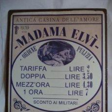 Carteles: PLACA METALICA LITOGRAFIADA DE PROPAGANDA DE UNA CASA DE PROSTITUCION ITALIANA AÑO 1939. Lote 146876494