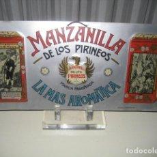 Carteles: ANTIGUA CHAPA METAL AÑOS 20/30. MANZANILLA DE LOS PIRINEOS. PUEYO BERDON. BALNEARIO DE PANTICOSA. Lote 147754462