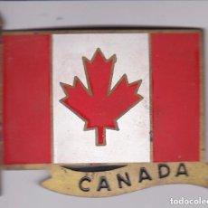 Carteles: BANDERA DE CANADA - CHAPA METALICA ESMALTADA DE COCHE -AÑOS 1950/60 - DIAMETRO 7,5 CMS. Lote 148031450